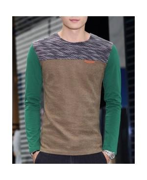 Round Neck Color Block Spliced Design PU-Leather Embellished Long Sleeve T-Shirt For Men