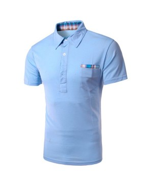 Men's Turn Down Collar Checked Design Solid Color Short Sleeves T-Shirt