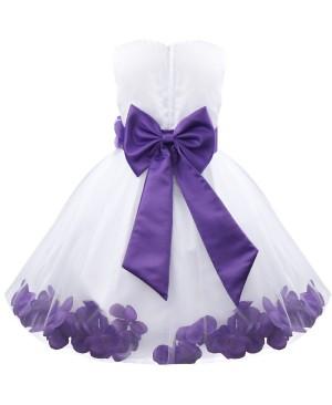 iEFiEL Robe Demoiselle d'Honneur Filles Pétales Noeud Fleur pour Enfant 2-14 Ans