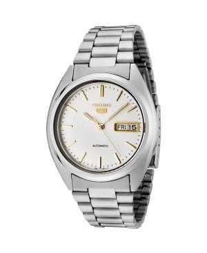 Seiko - SNXG47K - 5 Gent - Montre Homme - Automatique Analogique - Cadran Blanc - Bracelet Acier Gris