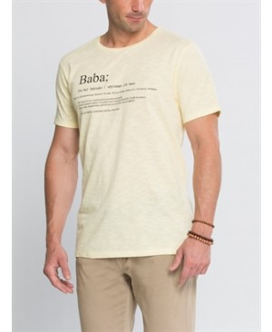 Yellow Short Sleeve Printed Standard Crew Neck T-Shirt