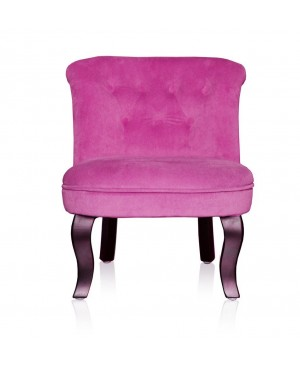 HOME STORIES 13669 Fauteuil Crapaud Velours Fuchsia Lilou/Rose 45,5 x 50 x 54 cm